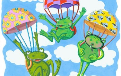 Three Frogs in Parachutes 2